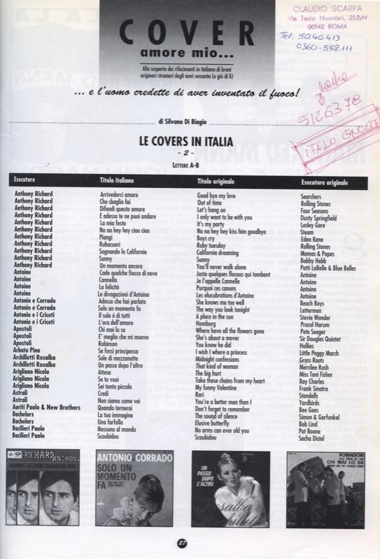 Gli Apostoli sulla rivista Cover Amore mio...