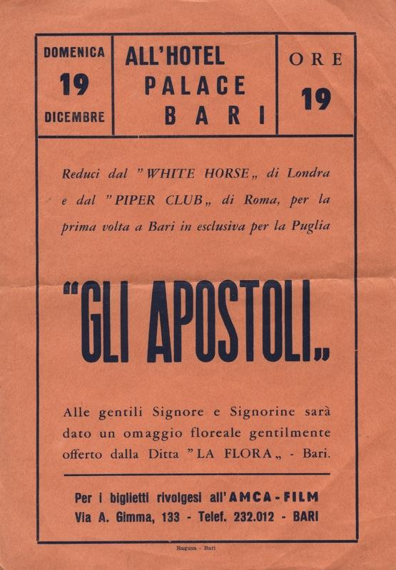 Locandina de Gli Apostoli allo Hotel Palace di Bari