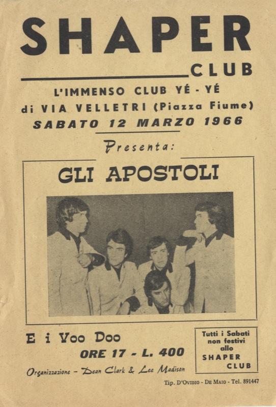 Locandina de Gli Apostoli allo Shaper club di Roma