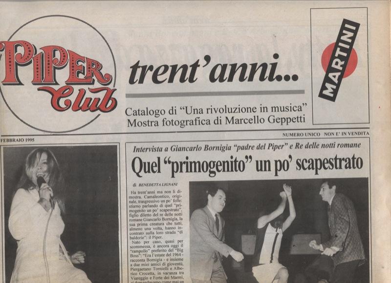 Gli Apostoli sulla rivista che celebra i 30 anni del Piper Club - Pag. 1