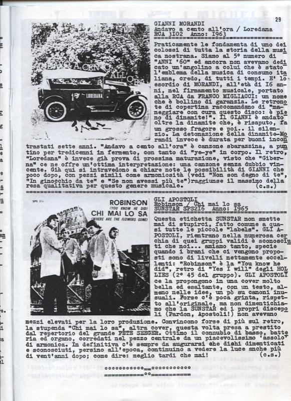 Gli Apostoli sulla rivista Anni 60 - Articolo